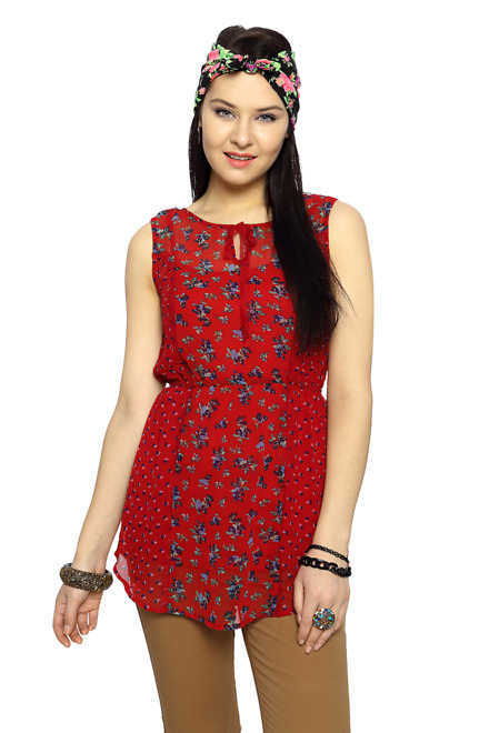 Red Mix Printed Sleeveless Top - Honey