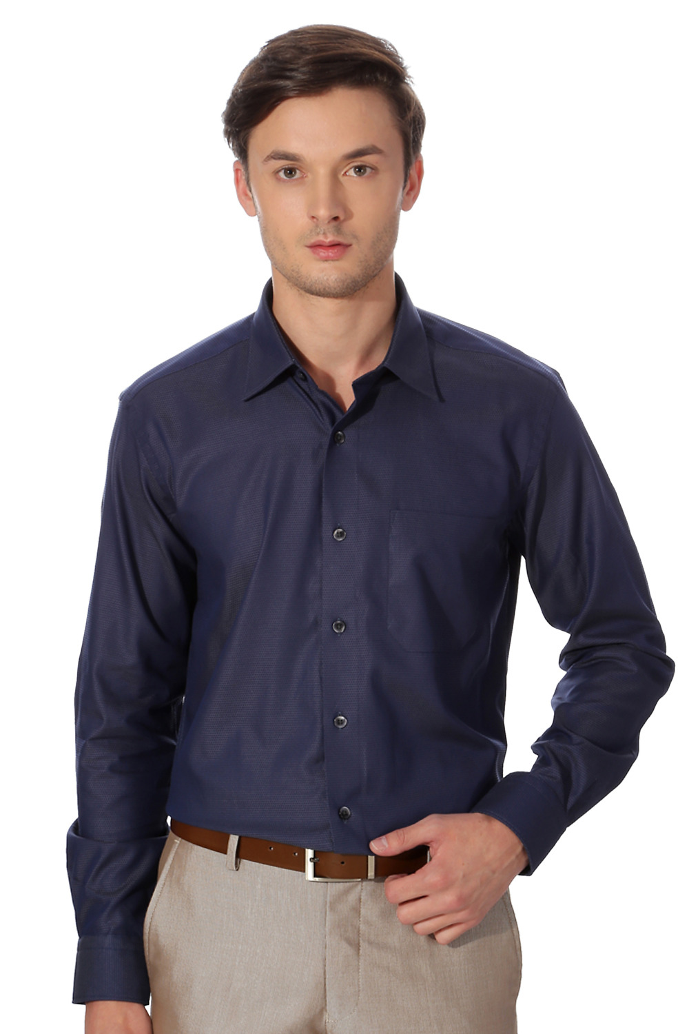 Blue Formal Patterned Shirt in Comfort FitLouis Philippe Formal Shirts