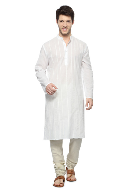 Pantaloons White Striped Band Collar Long Kurta