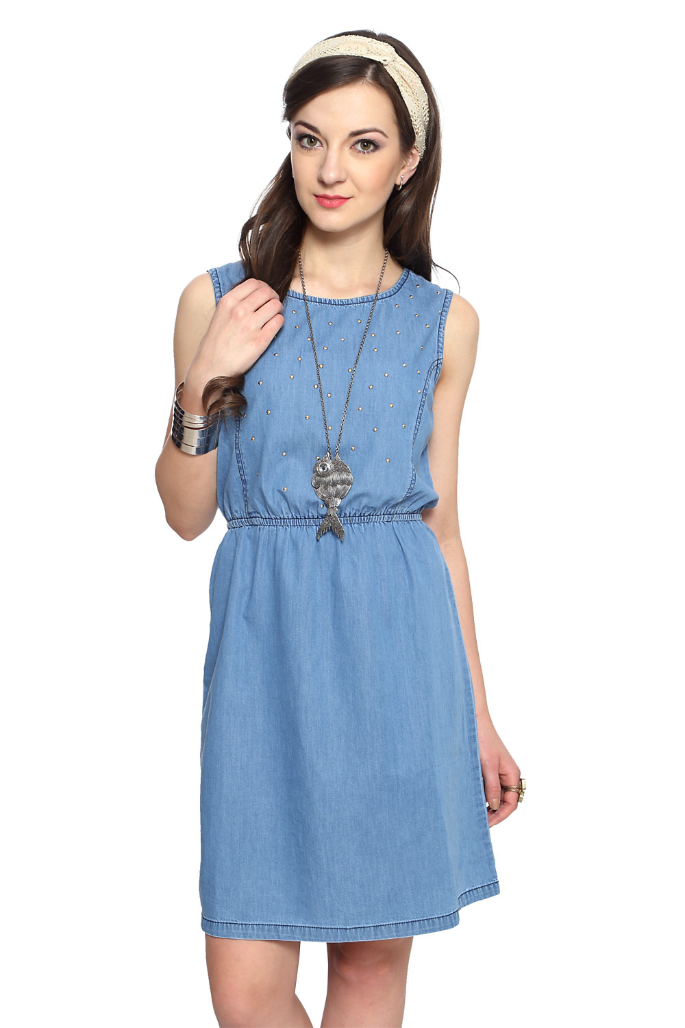 Unique Women39s Sleeveless Floral Embroidery Denim Dress  ACHICGIRLCOM