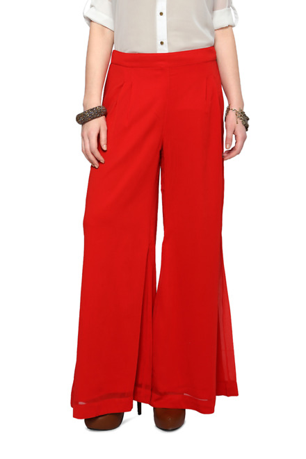 Pantaloons Red Comfort Fit Palazzo Pants