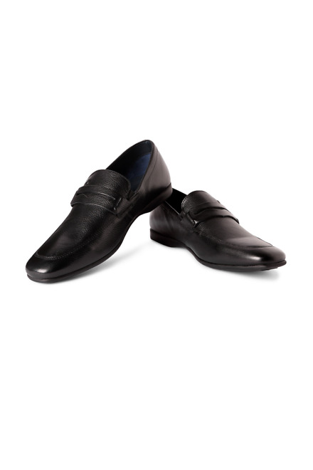 Louis Philippe Black Slip Ons