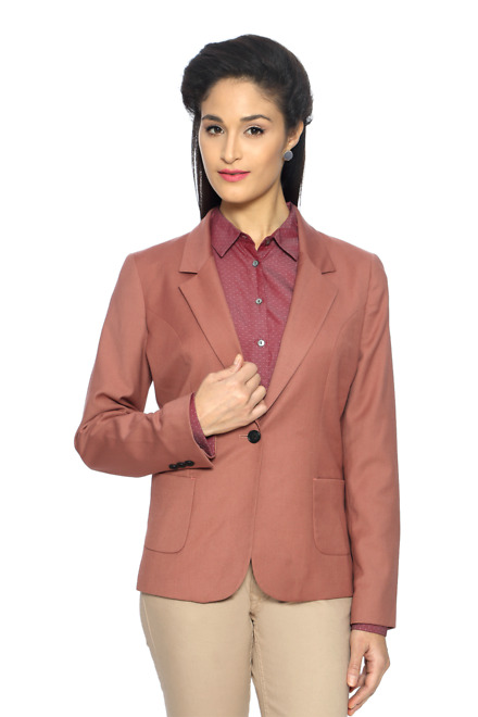 Van Heusen Peach Solid Single Breasted One button Blazer