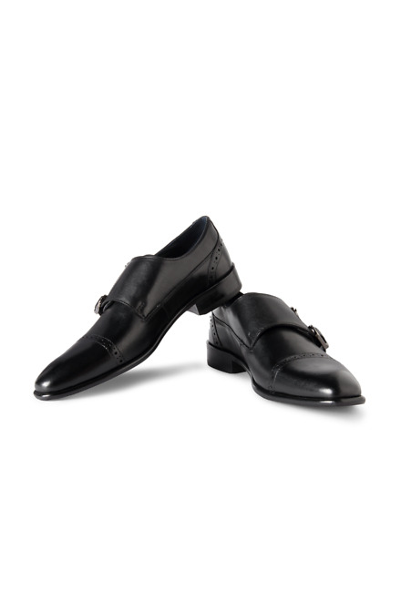 Louis Philippe Black Formal Monk Strap Shoe