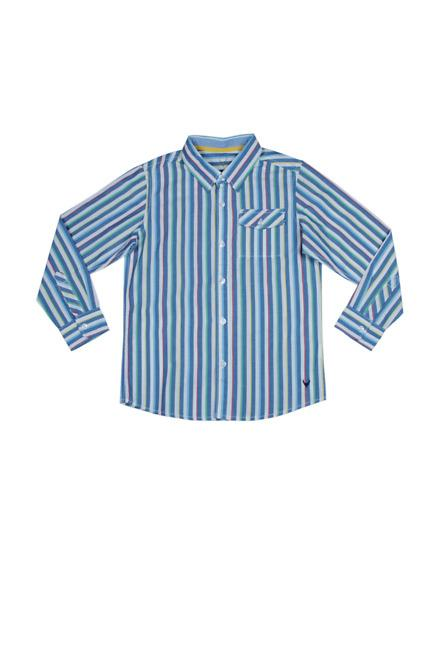 Allen Solly Blue Striped Full Sleeves Shirt