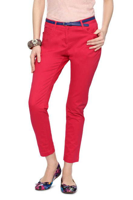Fuschia Solid Trousers