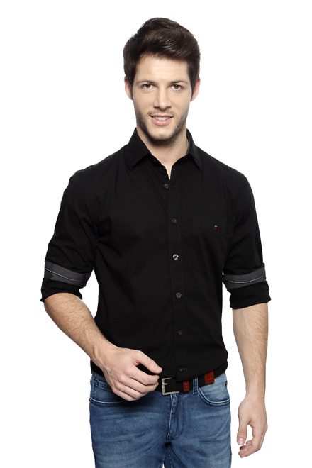 LPBlack Solid Slim Fit...