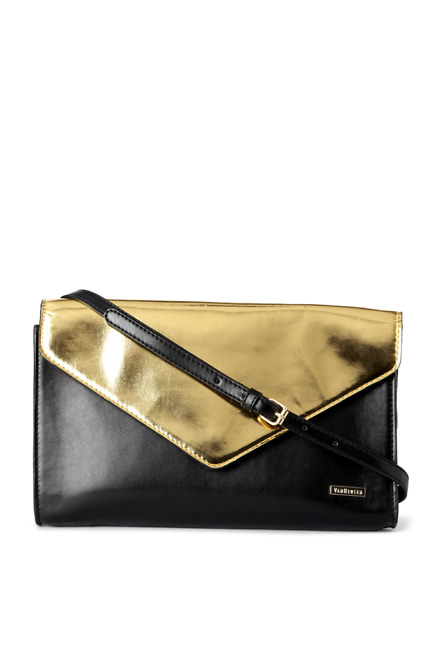 Black and Gold Casual Handbag