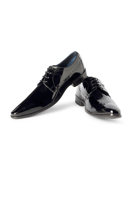 Louis Philippe Black Party Lace Up Shoes