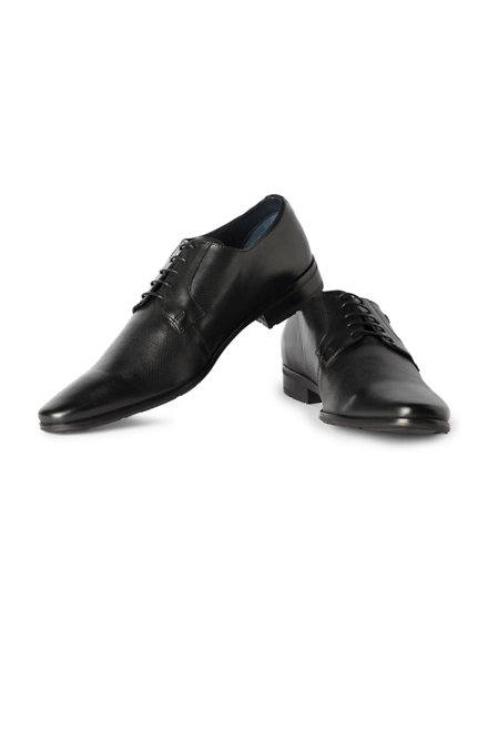 Louis Philippe Black Lace Up Shoes
